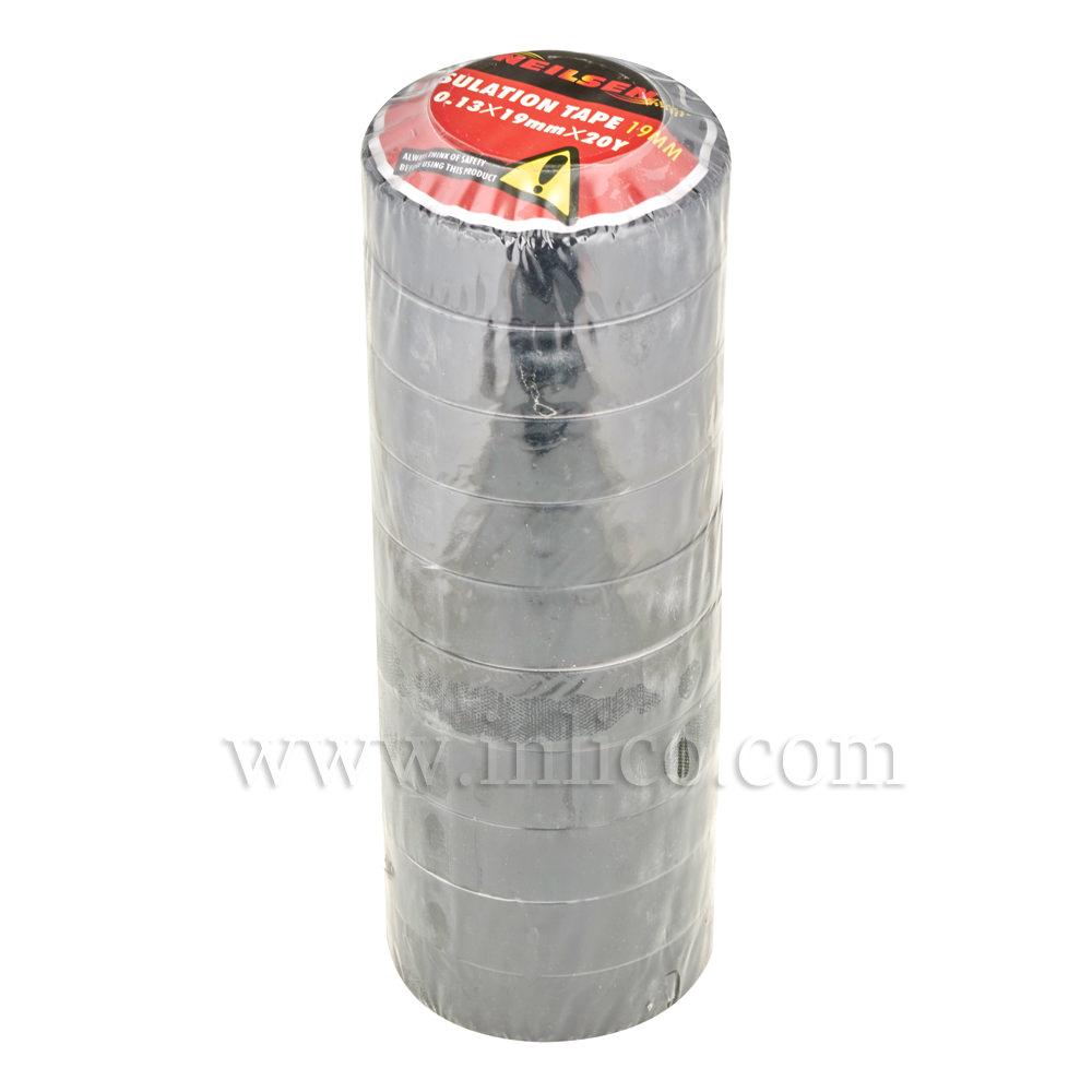 INSULATION TAPE 19MM X 20M BLACK - 10 ROLLS PER PACK
