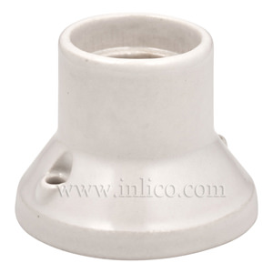 CERAMIC E27 STRAIGHT BATTEN HOLDER WHITE BASE DIAMETER 68MM HEIGHT 52MM