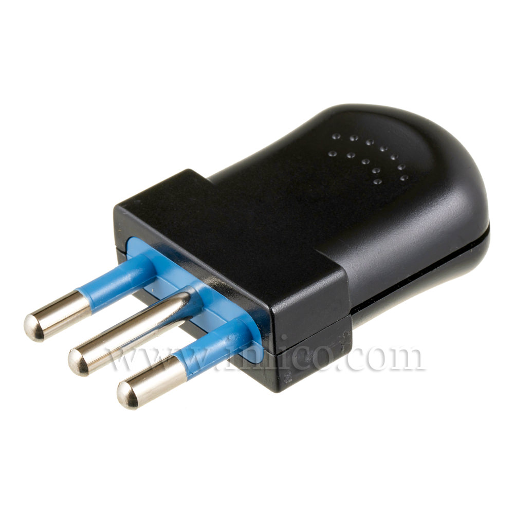 10 AMP 3 PIN EARTHED ITALY PLUG BLACK