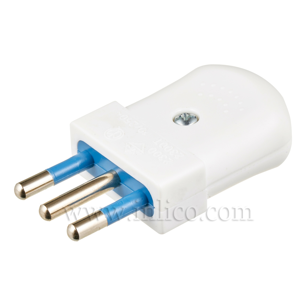 10AMP 3 PIN EARTHED ITALY PLUG WHITE