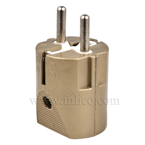 REWIRABLE SCHUKO PLUG GOLD  CEE 7/4 AND CEE 7/7 (TYPE F AND TYPE E COMPATIBLE)  TO STANDARD IEC60884-1:2002 VDE APPROVED MAX CURRENT 16 AMPS