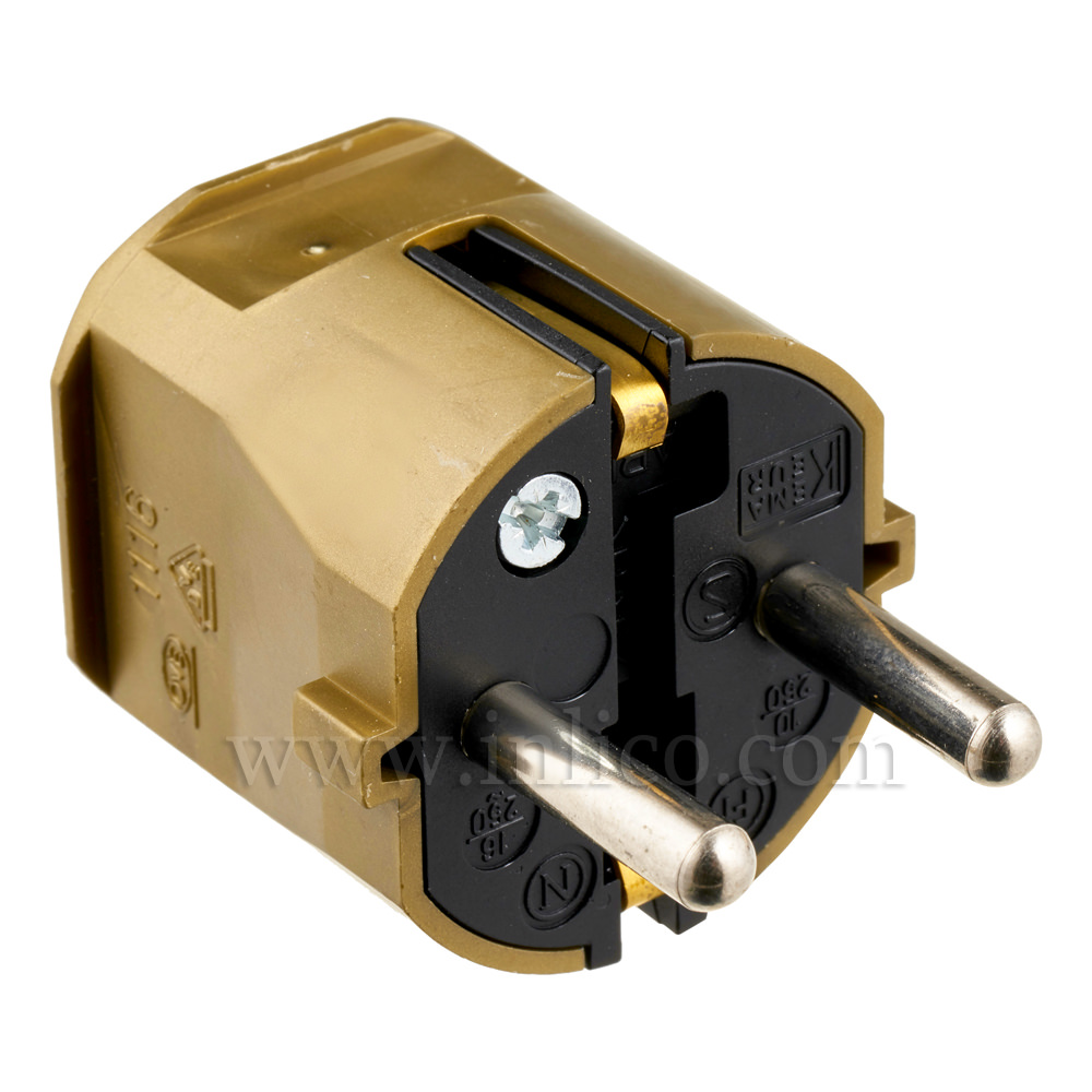 REWIRABLE SCHUKO PLUG TYPE F GOLD VDE APPROVED