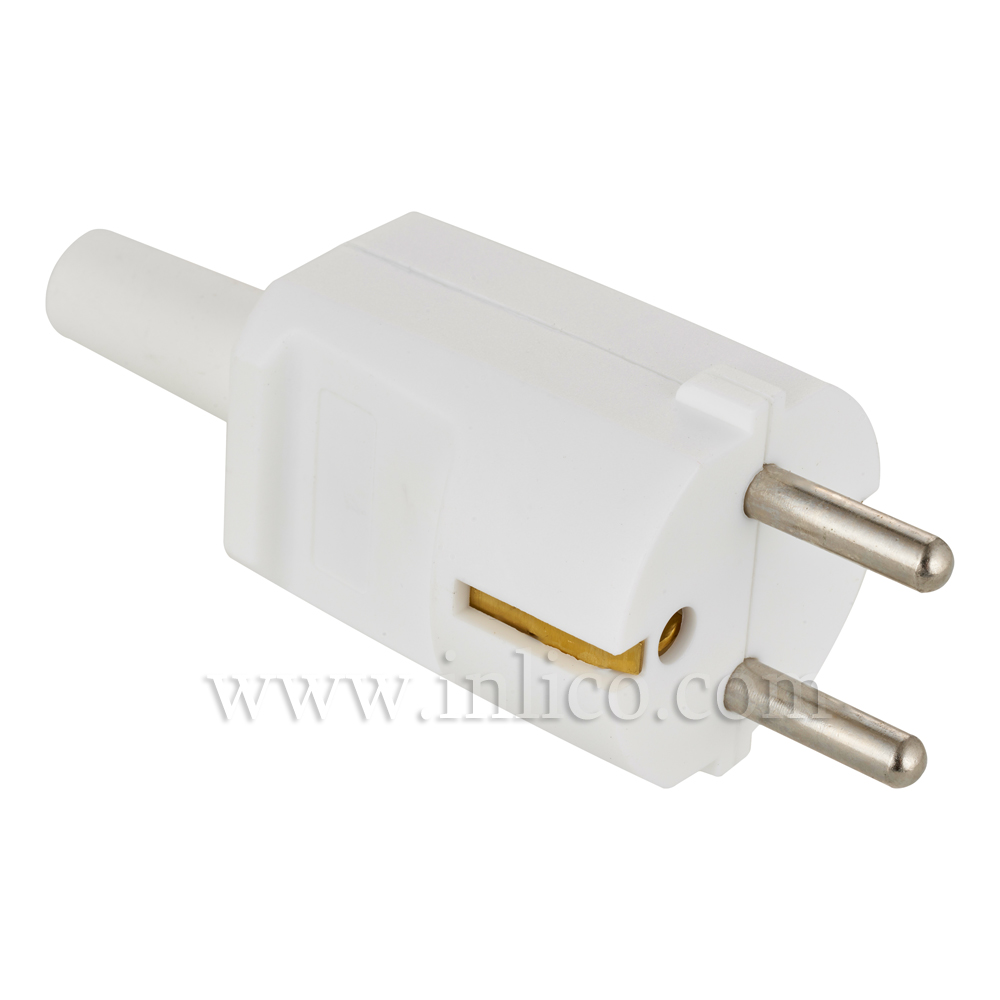 REWIRABLE SCHUKO PLUG WHITE  CEE 7/4 AND CEE 7/7 (TYPE F AND TYPE E COMPATIBLE)  TO STANDARD IEC60884-1:2002 VDE APPROVED MAX CURRENT 16 AMPS