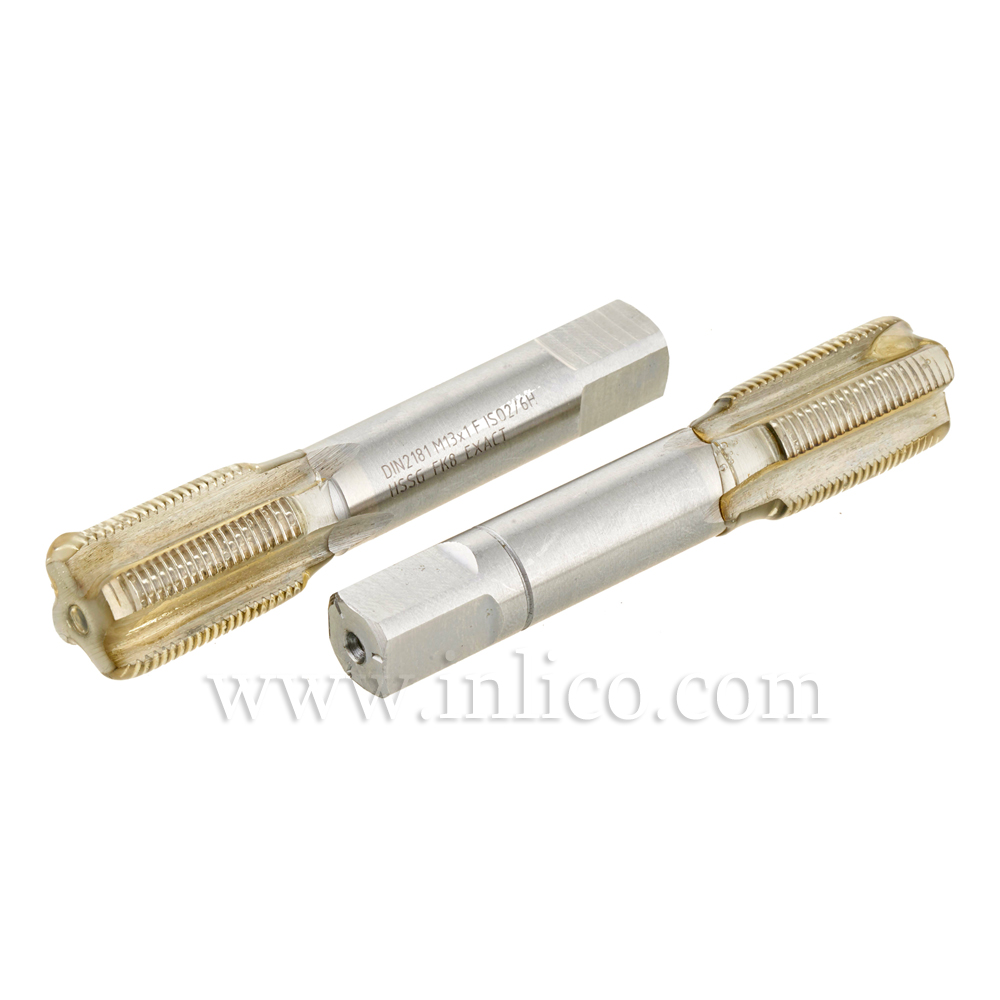 HAND TAP SET - TWO PIECE - M13X1 HSS METRIC ISO FINE THREAD DIN13 TAPER AND PLUG