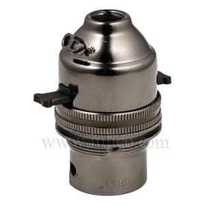 10MM B22 BRASS PUSHBAR LAMPHOLDER BLACK NICKEL FINISH SCREW TERMINALS EARTHED STANDARD BS EN 61184