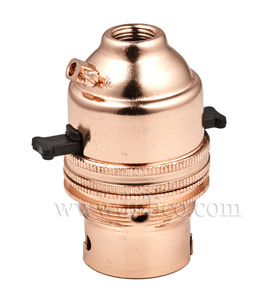10MM B22 BRASS PUSHBAR LAMPHOLDER BRIGHT COPPER FINISH SCREW TERMINALS EARTHED STANDARD BS EN 61184