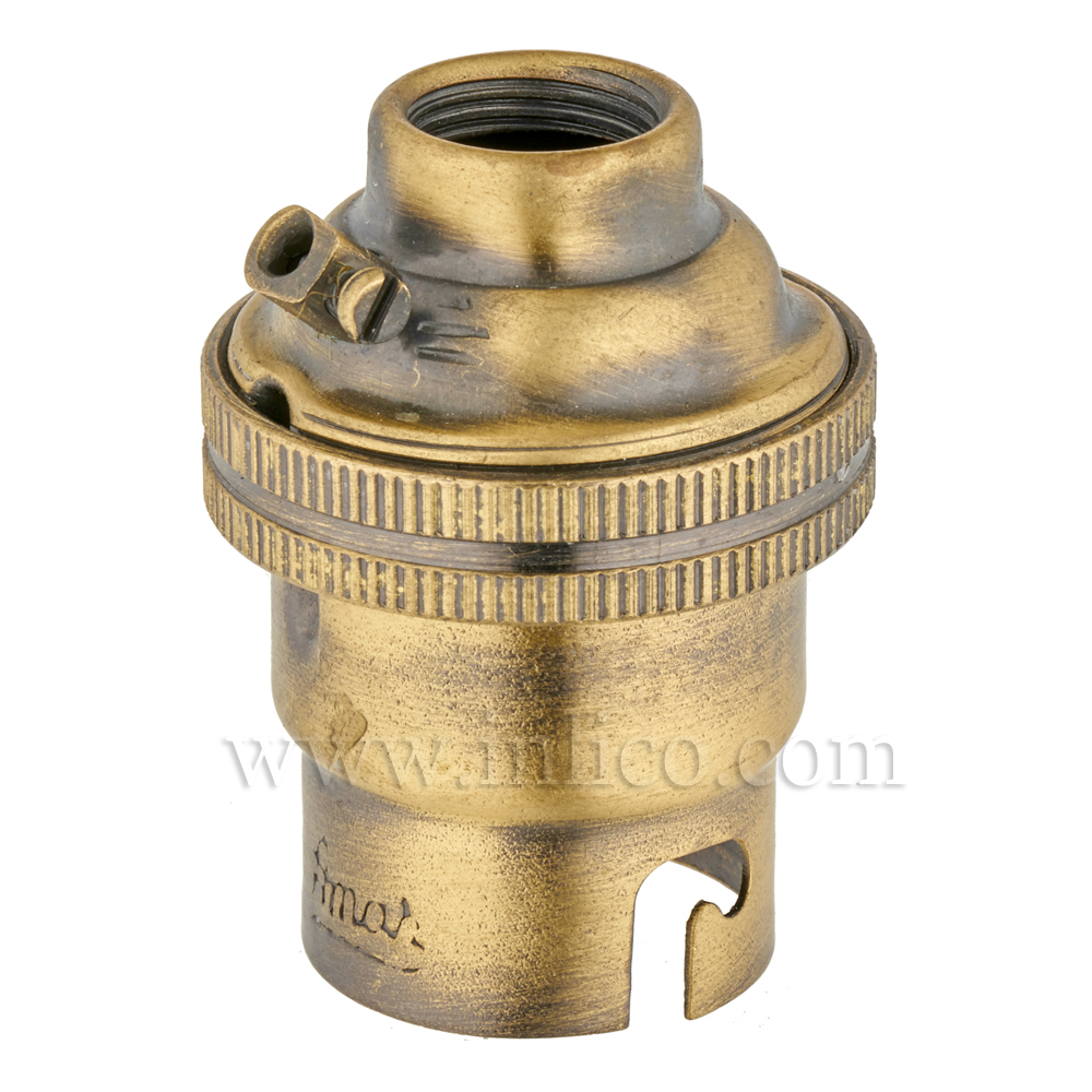 10MM B22 BRASS PLAIN SKIRT LAMPHOLDER ANTIQUE FINISH UNSWITCHED SCREW TERMINALS EARTHED STANDARD BS EN 61184