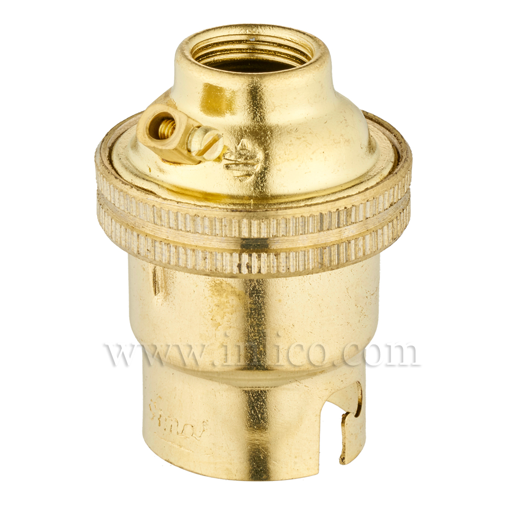 10MM B22 BRASS PLAIN SKIRT LAMPHOLDER UNSWITCHED SCREW TERMINALS EARTHED STANDARD BS EN 61184