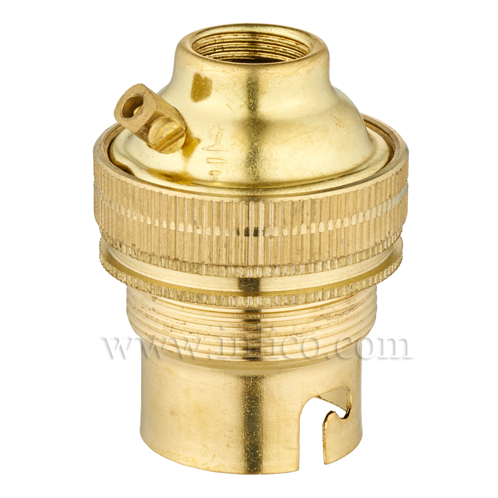 10MM B22 BRASS THREADED SKIRT LAMPHOLDER WITH SHADE RING UNSWITCHED SCREW TERMINALS EARTHED STANDARD BS EN 61184