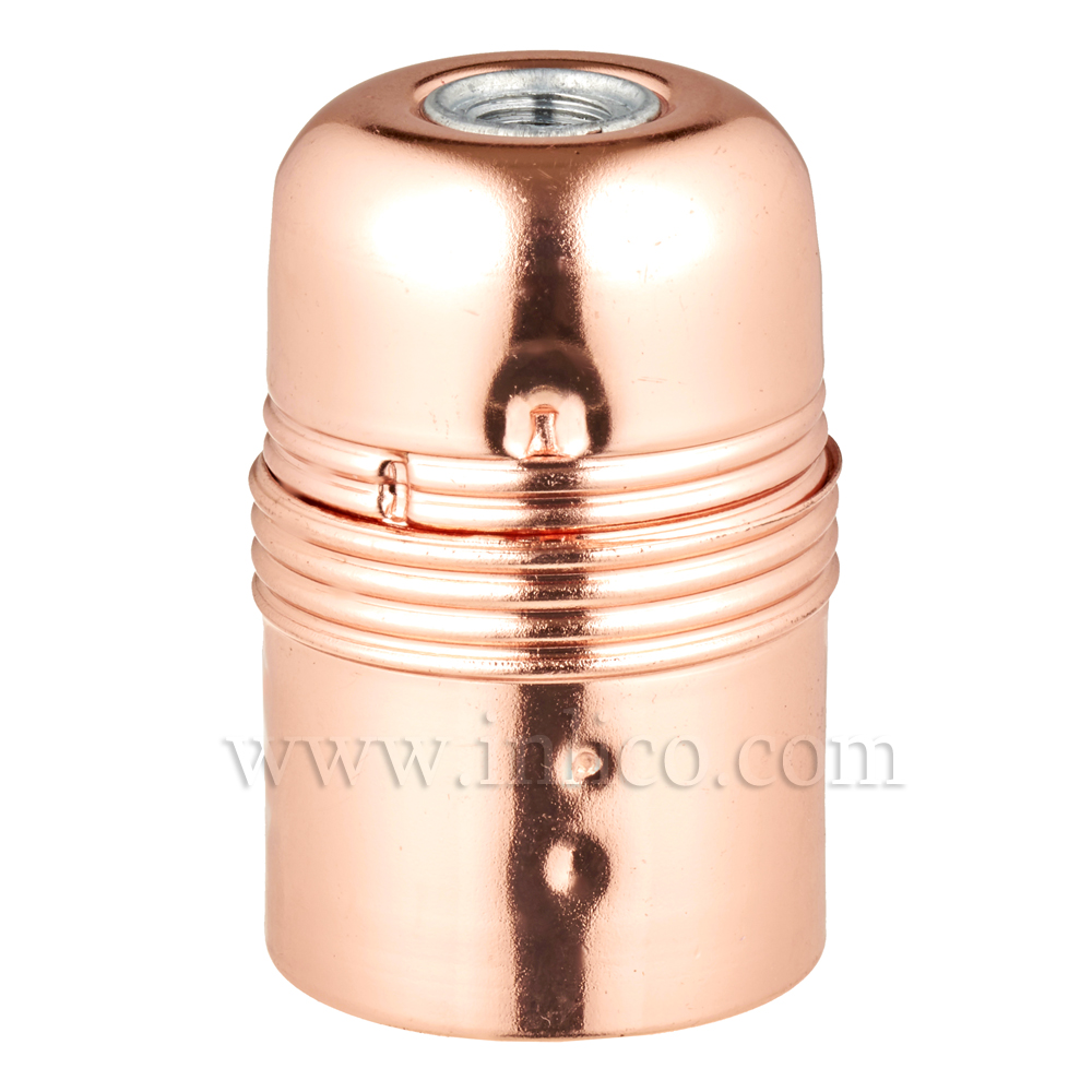 PLAIN SKIRT E27 METAL LAMPHOLDER BRIGHT COPPER FINISH WITH EARTHED CERAMIC INSERT APPROVAL ENEC05 TO EN60238:2004