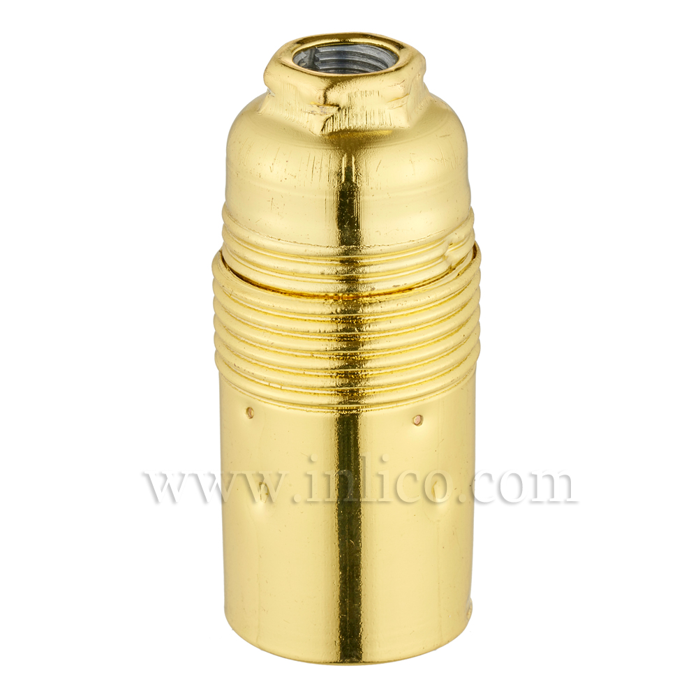 E14 METAL LAMPHOLDER BRASS PLATED  WITH PLAIN SKIRT AND EARTHED DOME VDE APPROVED