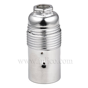 E14 METAL LAMPHOLDER BRIGHT ZINC PLATED  WITH PLAIN SKIRT AND EARTHED DOME VDE APPROVED