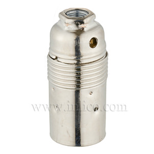 E14 METAL LAMPHOLDER NICKEL PLATED  WITH PLAIN SKIRT AND EARTHED DOME VDE APPROVED APPROVAL ENEC05 TO EN60238:2004