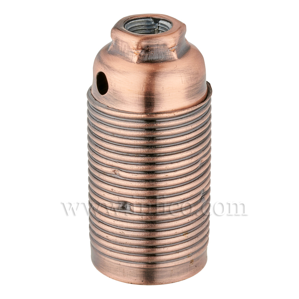 E14 METAL LAMPHOLDER ANTIQUE COPPER WITH THREADED SKIRT AND EARTHED DOME VDE APPROVED APPROVAL ENEC05 TO EN60238:2004