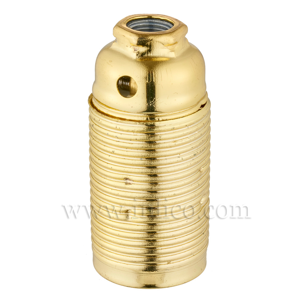 E14 METAL LAMPHOLDER BRASS PLATED  WITH THREADED SKIRT AND EARTHED DOME VDE APPROVED APPROVAL ENEC05 TO BS EN 60238:2018:2004