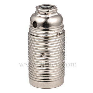 E14 METAL LAMPHOLDER BRIGHT ZINC PLATED  WITH THREADED SKIRT AND EARTHED DOME VDE APPROVED APPROVAL ENEC05 TO EN60238:2004