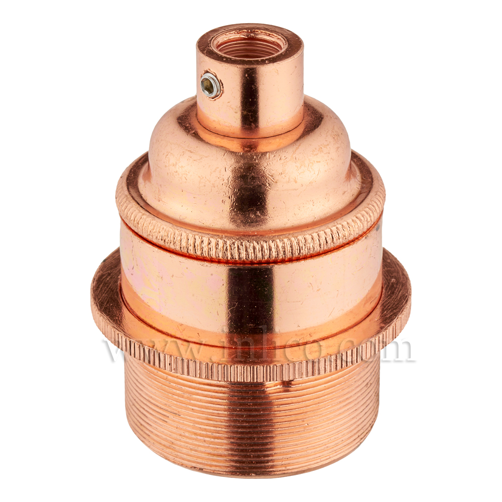 E27 BRASS BRIGHT COPPER PLATED LAMPHOLDER FULLY THREADED SKIRT M10 X 1 ENTRY WITH EARTH + 1 BRIGHT COPPER PLATED BRASS SHADE RING  EN 60238:2004 + C11:2005 +A1:2008
