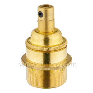 E27 BRASS LAMPHOLDER FULLY THREADED SKIRT M10 X 1 ENTRY WITH EARTH + 1 BRASS SHADE RING EN 60238:2004 + C11:2005 +A1:2008 + 5.706.A.BRASS C/GRIP (SEPARATE)