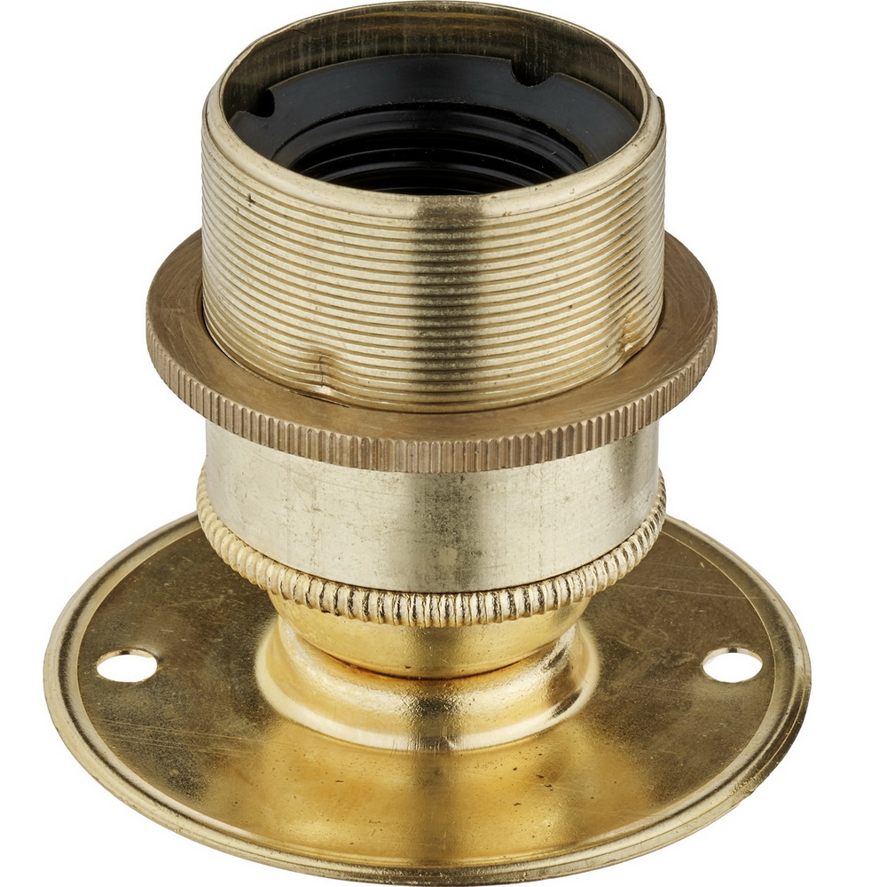 E27 BRASS BATTEN LAMPHOLDER FULLY THREADED SKIRT M10 X 1 ENTRY WITH EARTH + 1 BRASS SHADE RING EN 60238:2004 + C11:2005 +A1:2008