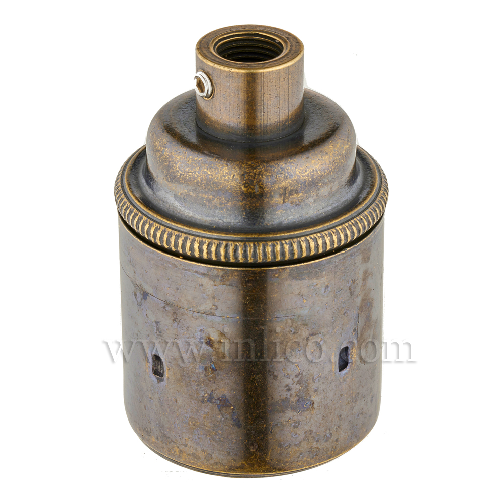 E27 BRASS BRUSHED ANTIQUE LAMPHOLDER PLAIN SKIRT M10 X 1 ENTRY WITH EARTH EN 60238:2004 + C11:2005 +A1:2008