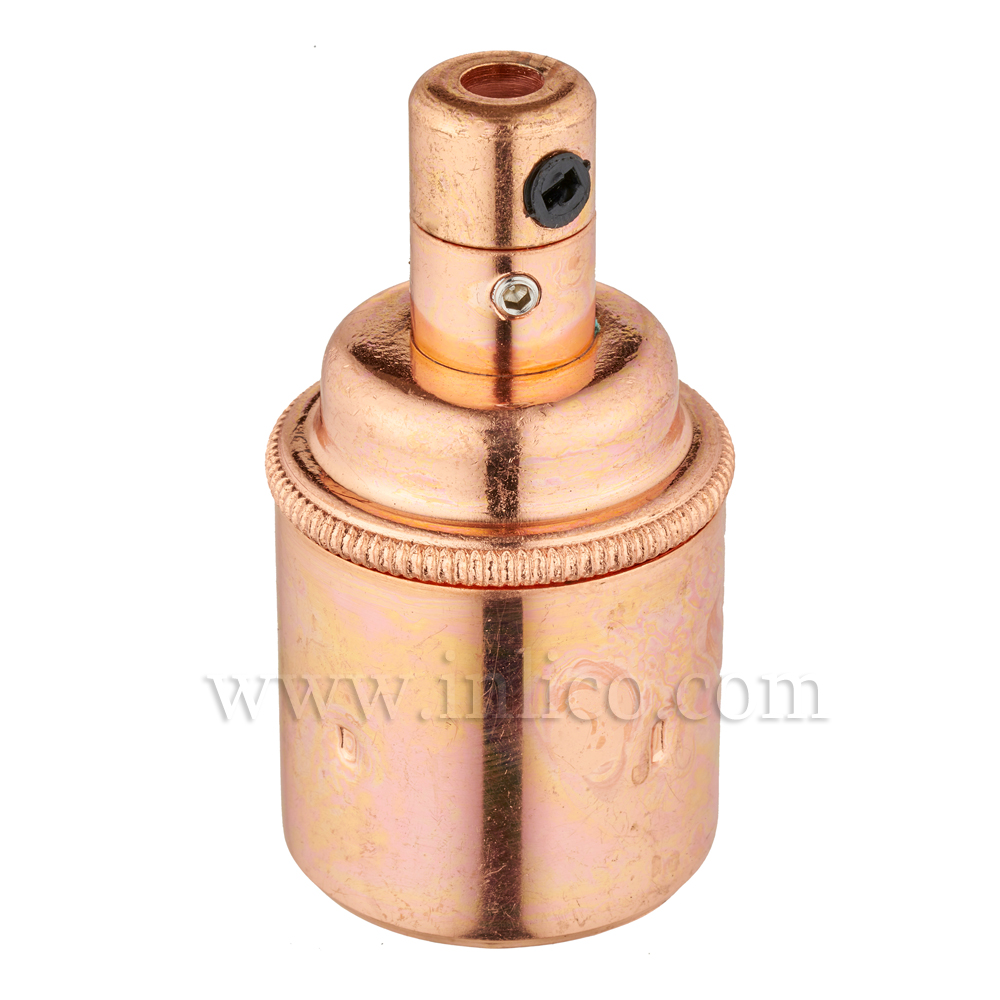 E27 BRASS BRIGHT COPPER PLATED LAMPHOLDER PLAIN SKIRT M10 X 1 ENTRY WITH EARTH EN 60238:2004 + C11:2005 +A1:2008 + 5.706.A.COPPER (SEPARATE)