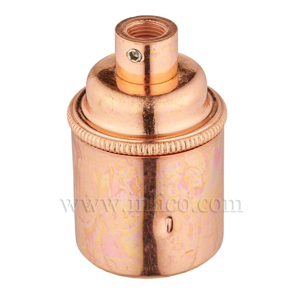 E27 BRASS BRIGHT COPPER PLATED LAMPHOLDER PLAIN SKIRT M10 X 1 ENTRY WITH EARTH EN 60238:2004 + C11:2005 +A1:2008
