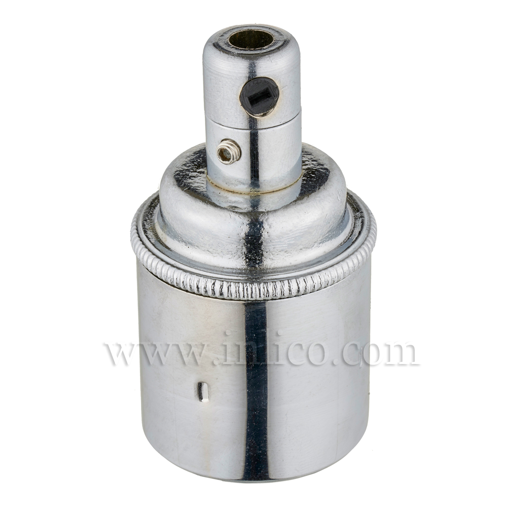 E27 BRASS CHROMED LAMPHOLDER PLAIN SKIRT M10 X 1 ENTRY WITH EARTH EN 60238:2004 + C11:2005 +A1:2008 + 5.706.A.CHROME (SEPARATE)