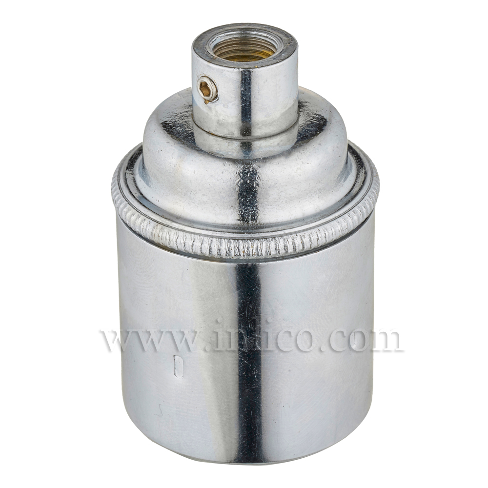 E27 BRASS CHROME PLATED LAMPHOLDER PLAIN SKIRT M10 X 1 ENTRY WITH EARTH EN 60238:2004 + C11:2005 +A1:2008
