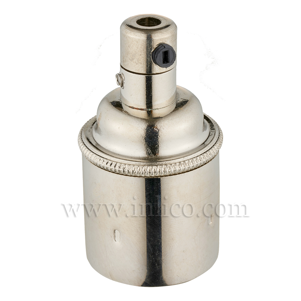 E27 BRASS NICKEL PLATED LAMPHOLDER PLAIN SKIRT M10 X 1 ENTRY WITH EARTH EN 60238:2004 + C11:2005 +A1:2008 + 5.706.A.NKL (SEPARATE)
