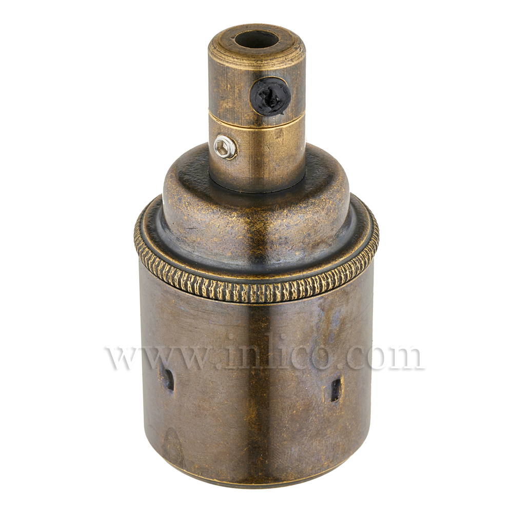 E27 BRASS OLD ENGLISH ANTIQUE LAMPHOLDER PLAIN SKIRT M10 X 1 ENTRY WITH EARTH EN 60238:2004 + C11:2005 +A1:2008 + 5.706.A.OE (SEPARATE)