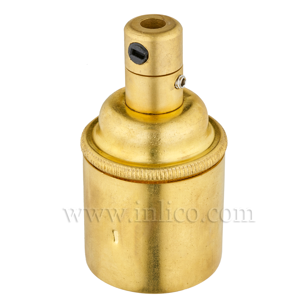 E27 BRASS LAMPHOLDER PLAIN SKIRT M10 X 1 ENTRY WITH EARTH EN 60238:2004 + C11:2005 +A1:2008 + 5.706.A.BRASS (SEPARATE)