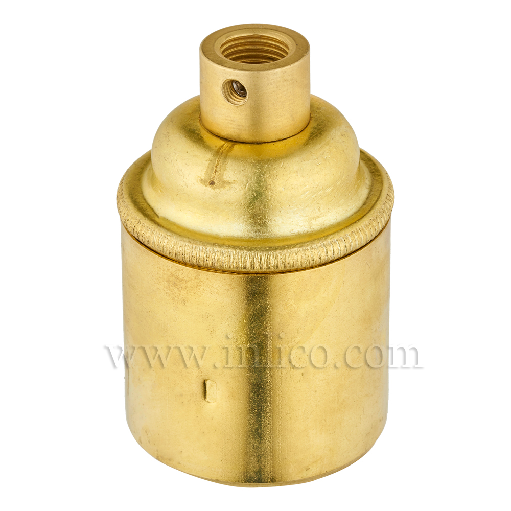 E27 BRASS LAMPHOLDER PLAIN SKIRT M10 X 1 ENTRY WITH EARTH EN 60238:2004 + C11:2005 +A1:2008