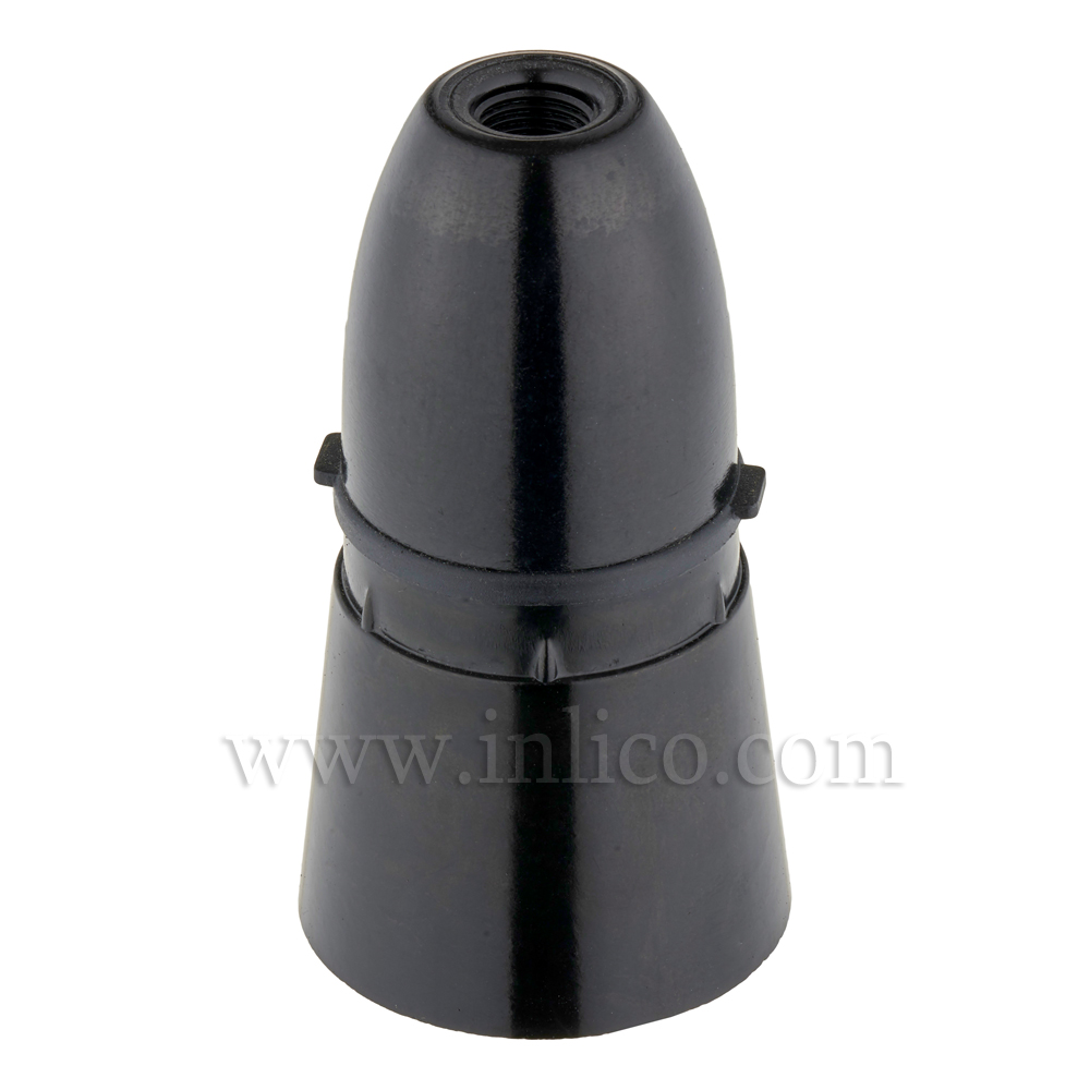 10MM BC PLASTIC L/H BLACK WITH LONG SKIRT + CORD GRIP. BS EN 61184:1995 (BS 5042) CERT. NO. 101223. T1 RATED