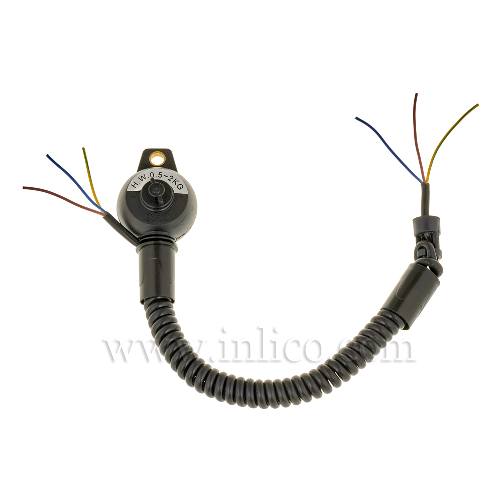 3 CORE RISE & FALL UNIT BLACK WITH CUP 2183Y x 0.75mm CABLE  MIN LOADING 0.7KG  MAX 4KG