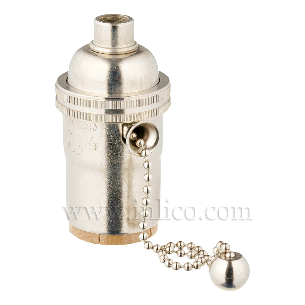 NICKEL PLATED BRASS E26 L/HLDR WITH PULL CHAIN SWITCH