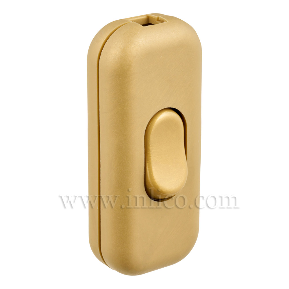 INLINE SWITCH FOR 2 & 3 CORE CABLE GOLD 6A SINGLE POLE SCREW TERMINALS 'S' MARKED