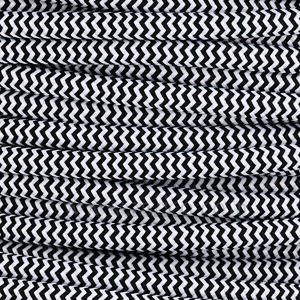 3x0.75MM FABRIC COVERED CABLE ZIG ZAG BLACK AND WHITE 3 X 0.75MM ROUND PVC/PVC FLEXIBLE CABLE COVERED IN  SILK BRAIDED SLEEVE  HO3VV-F BS5025:2011