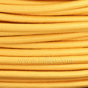 3x0.75MM FABRIC COVERED CABLE YELLOW 3 X 0.75MM ROUND PVC/PVC FLEXIBLE CABLE COVERED IN YELLOW FABRIC BRAIDED SLEEVE HO3VV-F BS6500:2000