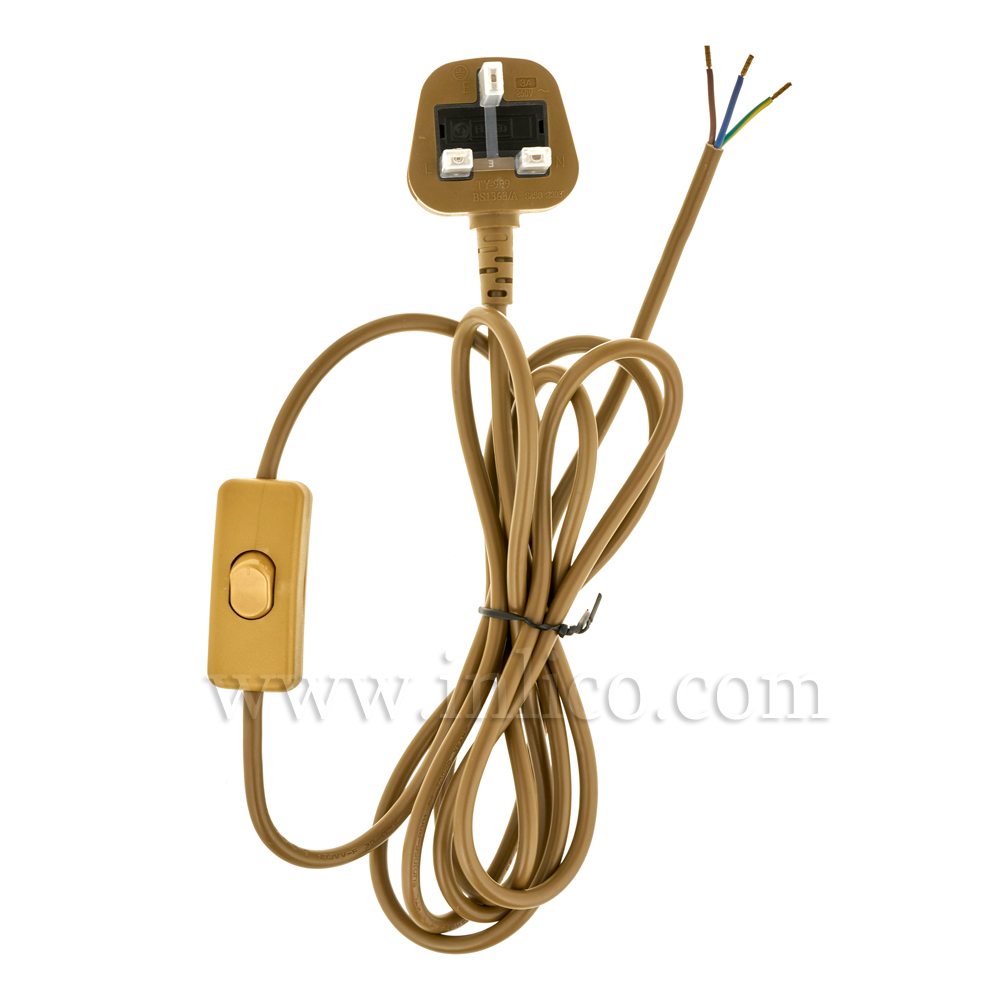 GOLD BRONZE 2.5MT INLINE CORD SET - SWITCH 1.5MT FROM PLUG END - 3 X.75 GOLD CABLE + 3A FUSED GOLD MOULDED PLUG. CABLE 2183Y VDE APPROVED. PLUG TO BS1363
