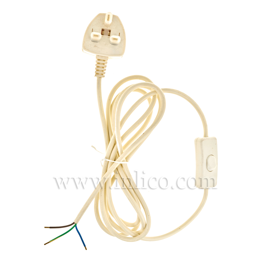 INLINE CORD SET 0.80/1.7M 2.5MT 3 X.75MM OFF WHITE CABLE + 3A FUSED WHITE SEALED PLUG. CABLE 2183Y BS6500 HARMONISED HO3VV-F. PLUG BS1363 + ASTA