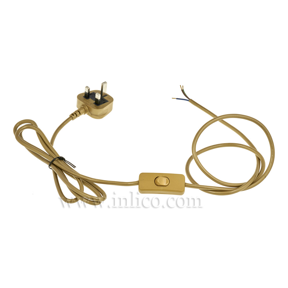 GOLD 2.5MT INLINE CORD SET - SWITCH 1.5MT FROM PLUG END - 3 X.75 GOLD CABLE + 3A FUSED GOLD MOULDED PLUG. CABLE 2183Y VDE APPROVED. PLUG TO BS 1363-1:2006+A1:2018