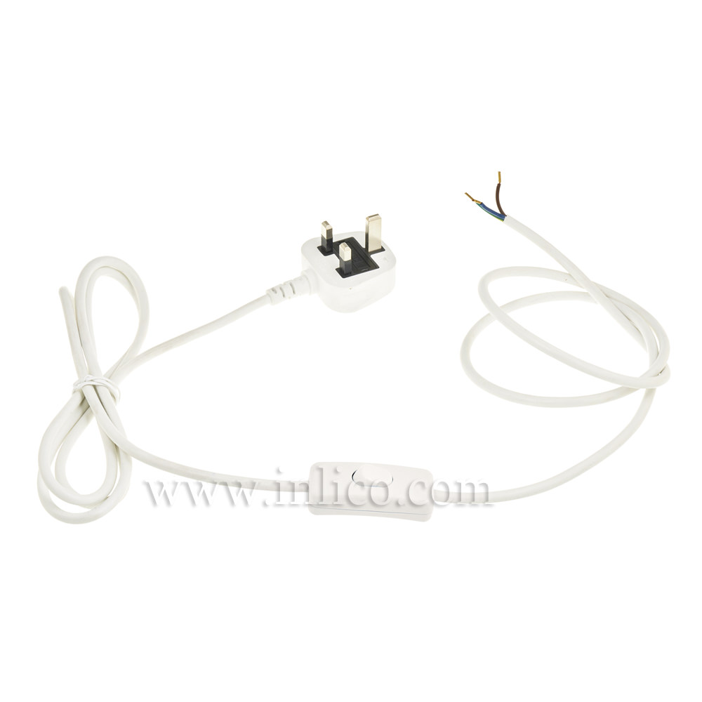 WHITE 2.5MT INLINE CORD SET - SWITCH 1.5MT FROM PLUG END - 3 X.75 WHITE CABLE + 3A FUSED WHITE MOULDED PLUG. CABLE 2183Y VDE APPROVED. PLUG TO BS 1363-1:2006+A1:2018