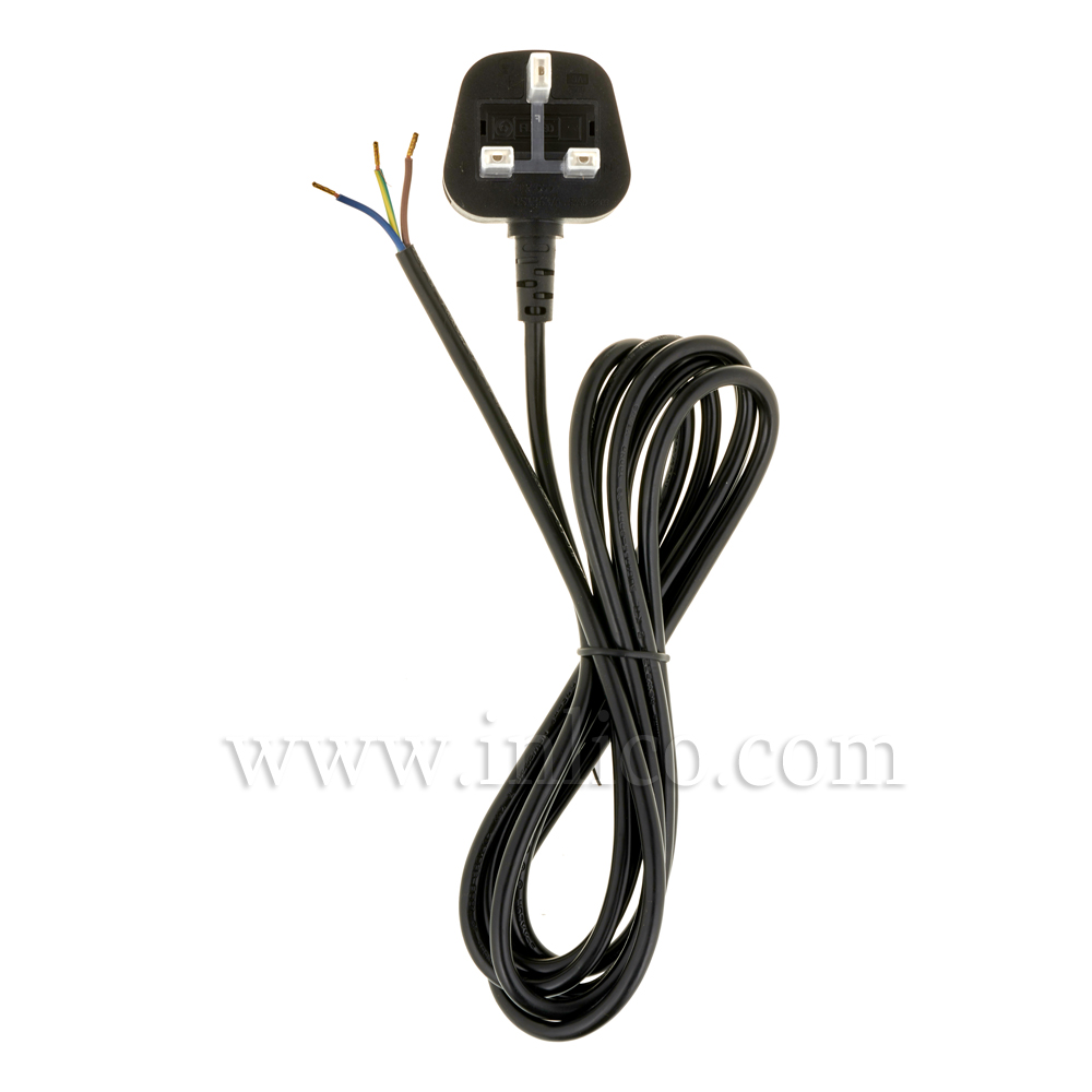 3A SEALED TAMPER-PROOF PLUG + 2.5M 2183Y 3 X .75MM BLACK CABLE. CABLE HARMONISED HO3VV-F. FREE END BOOTLACED. PLUG BS1363
