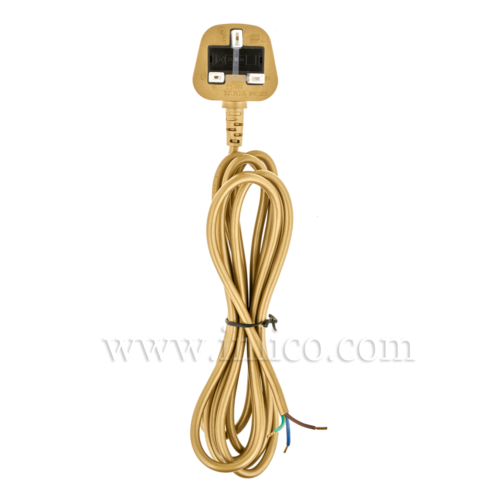 3A SEALED TAMPER-PROOF GOLD PLUG + 2.5M 2183Y 3 X .75MM GOLD CABLE. CABLE IS APPROVED TO BS6500 HARMONISED HO3VV-F. FREE END BOOTLACED. PLUG BS 1363 ASTA APPROVED