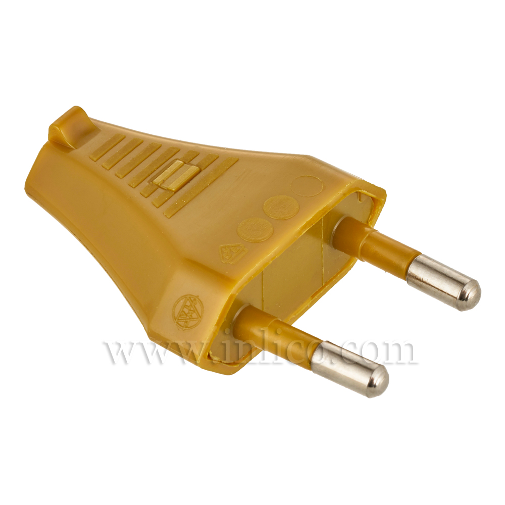 2 AMP EURO PLUG GOLD FOR FLAT/OVAL FLEX WITH SLIDE FIT BODY  CEE 7/16 EN50075