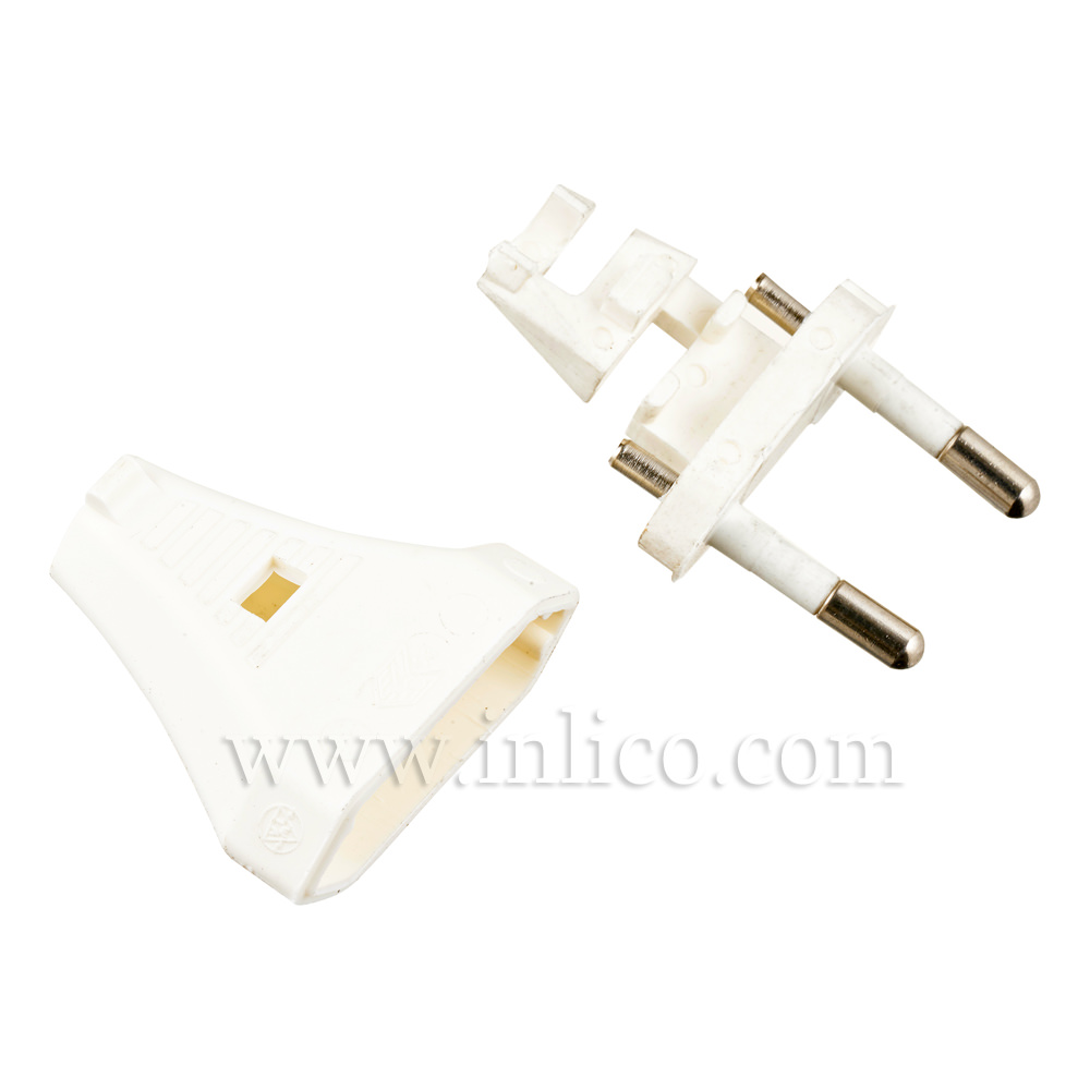 2 AMP EURO PLUG WHITE FOR FLAT/OVAL FLEX WITH SLIDE FIT BODY CEE 7/16 EN50075