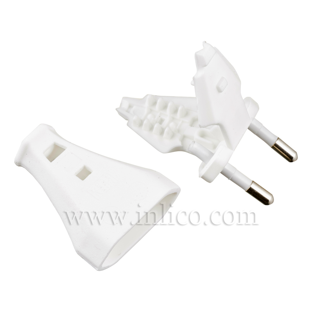 2 AMP EURO PLUG WHITE FOR FLAT/OVAL FLEX WITH SLIDE FIT BODY TO  CEE 7/16 EN50075