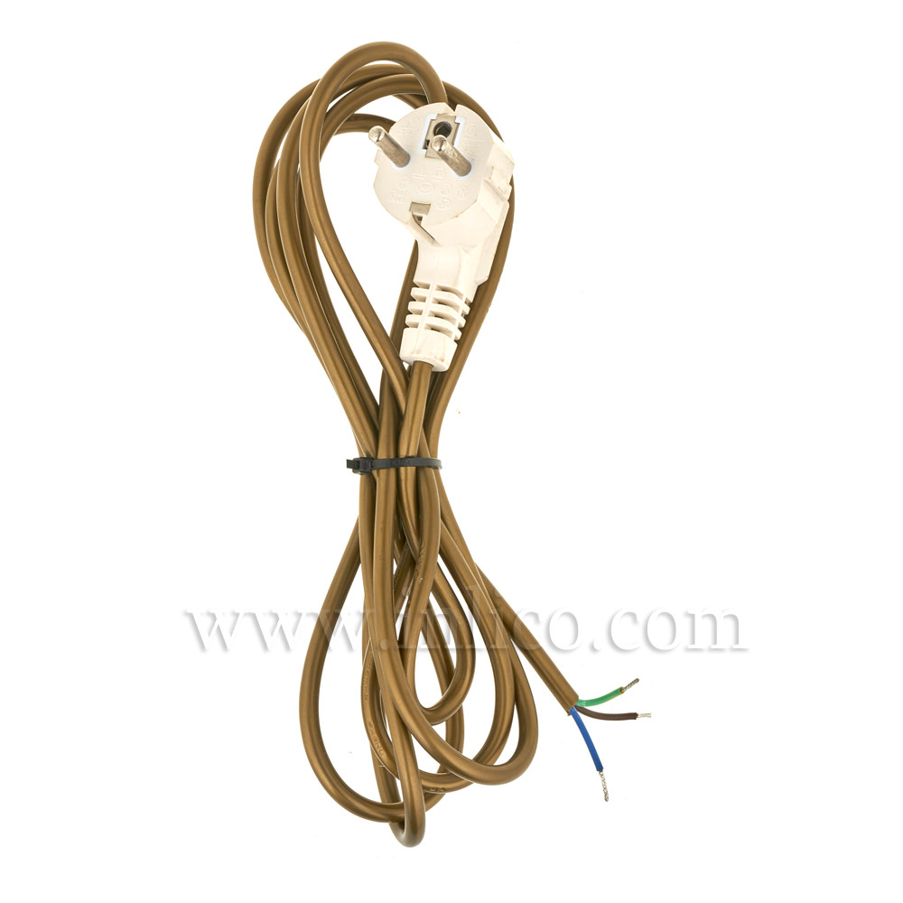 EARTHED SCHUKO PLUG WITH 2.5 MT 3 X .75MM GOLD CABLE.R/A WHITE MOULDED PLUG IS VDE APPROVED AND CABLE IS BS6500 HARMONISED HO3VV-F