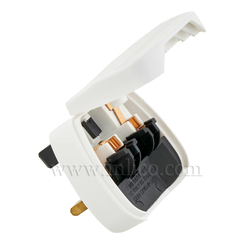 UK/EURO PLUG ADAPTOR WHITE  - FUSED 3AMP