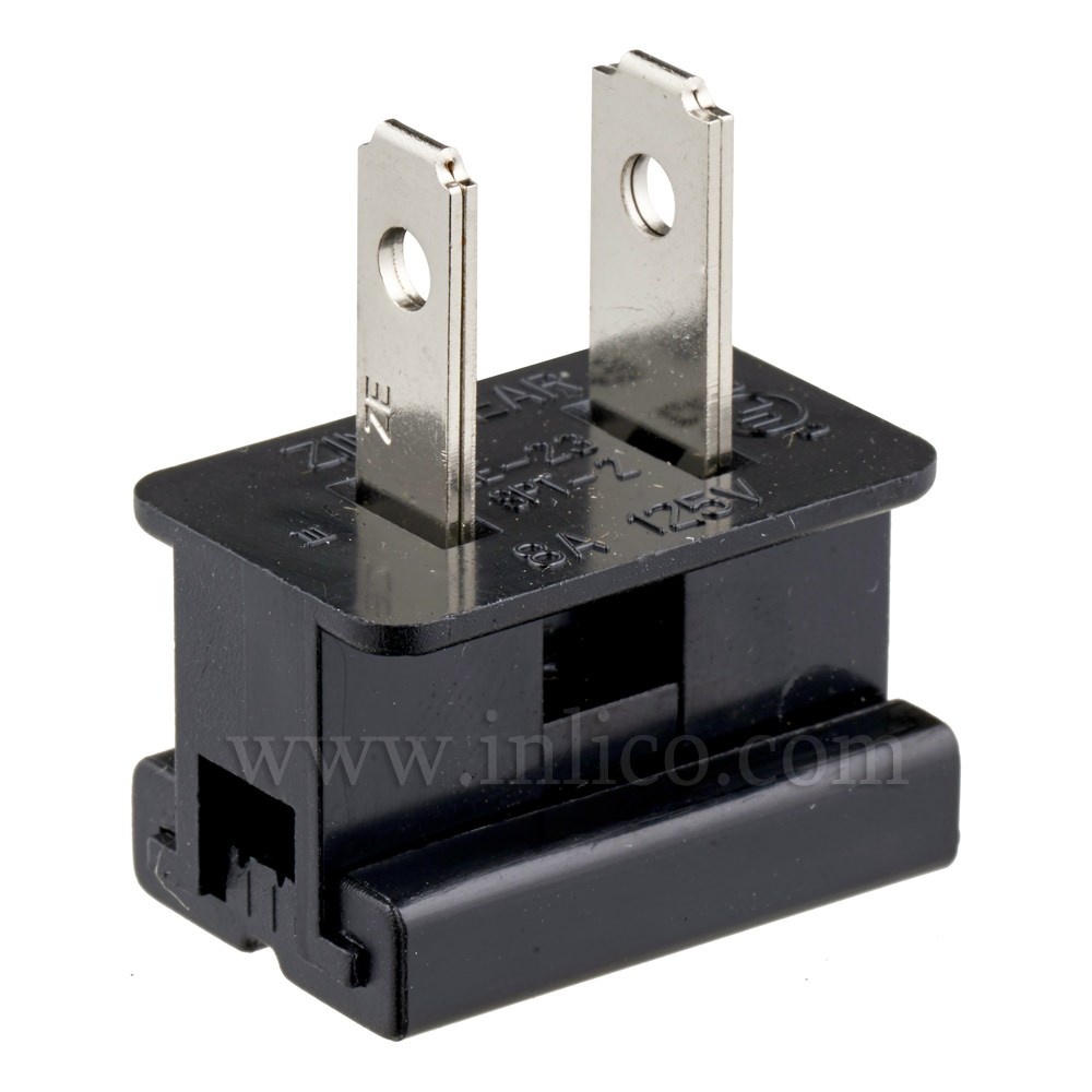 BLACK 2 PIN UL APPROVED USA POLARISED PLUG FOR SPT2 CABLE UL File No. E152761